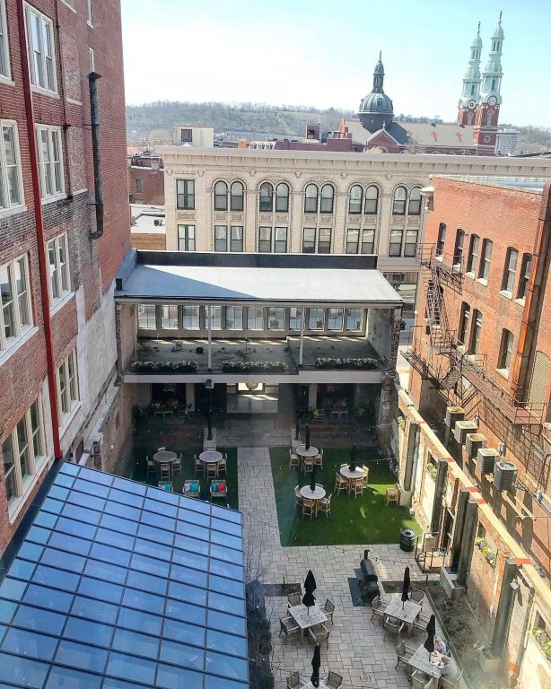 The spacious patio at Coppin's restaurant at the Hotel Covington as seen from above