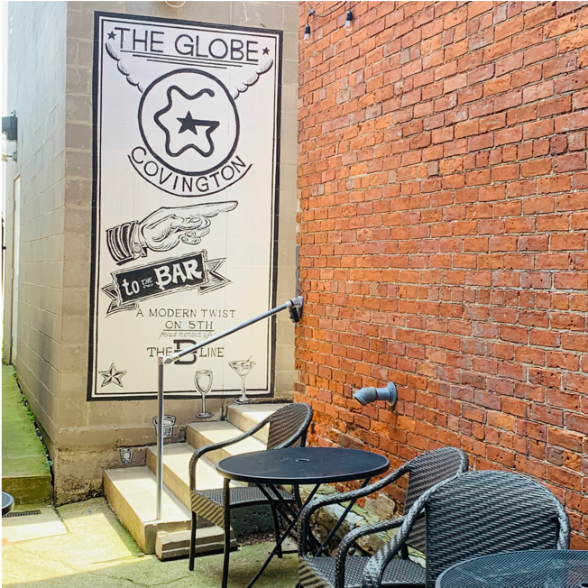 the globe patio with sign