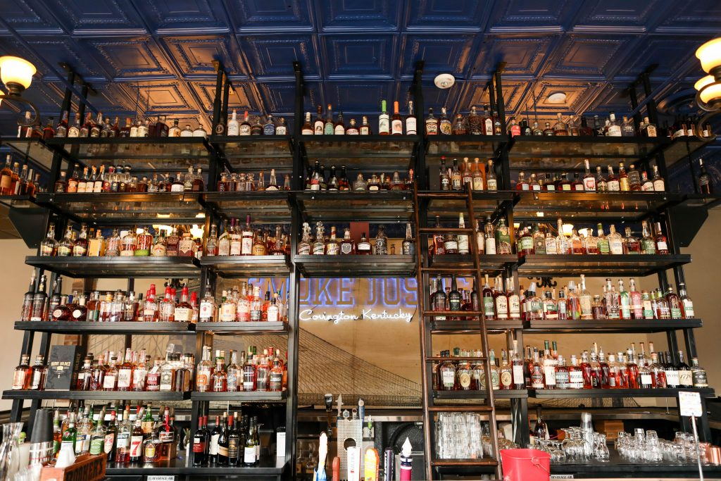 The bourbon bar at Smoke Justis, with more than 500 bourbons