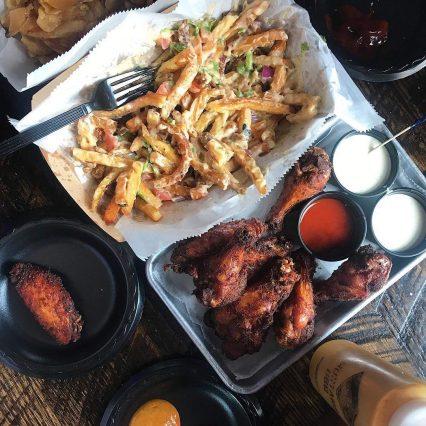 smoke justis wings fries beer cheese dinner bar eat mprushme